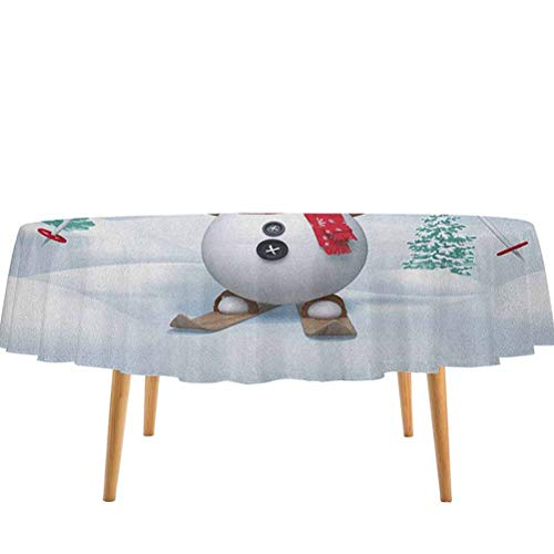 prunushome Christmas Table Cloth Snow Covered Mountain with Fir Trees and Skiing Snowman Fun Holiday Activity for Kitchen Dinning Tabletop Decoration Teal Red White (36' Round)