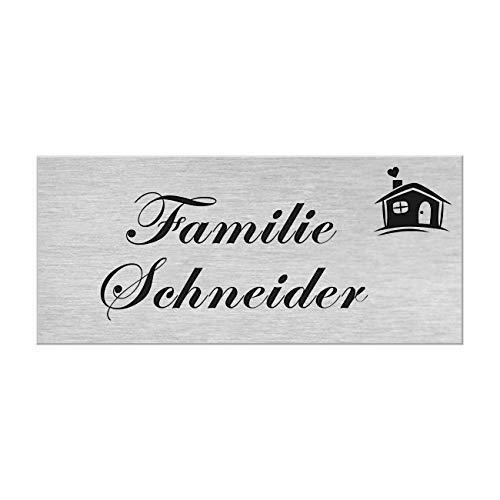 Motiv Edelstahl Briefkastenschild I über 40 Motive zur Auswahl I Klingelschild mit Gravur I Türschild in 100x40mm I Namensschild Selbstklebend - Haus