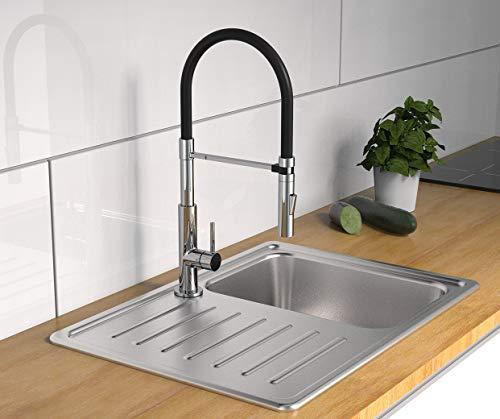 SCHÜTTE 79180 STILO Küchenarmatur mit ausziehbarer Brause, 360 Grad schwenkbarer Wasserhahn für die Küche, Spültischarmatur Einhebelmischer, Mischbatterie in Chrom/Schwarz