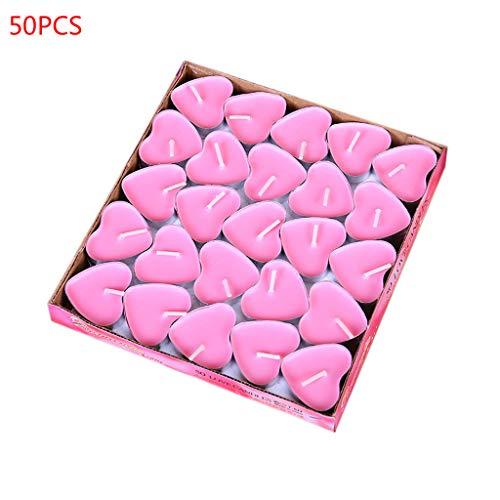 Eliky - Juego de 50 velas de té, diseño de corazón rosa