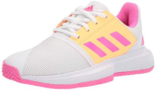adidas Courtjam X Tennis Shoe, White/Screaming Pink/Acid Orange, 4.5 US Unisex Big Kid