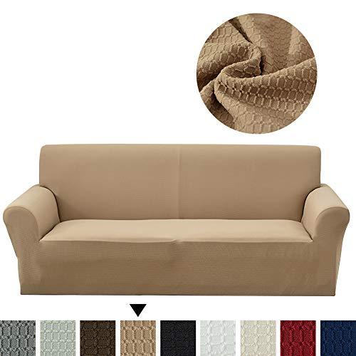 Lanqinglv Khaki Elastisch Jacquard Sofaüberwurf Wasserabweisend Sofa Überwürfe 1/2/3/4 sitzer Sofabezug Einfarbig Couchbezug Sesselbezug rutschfest Abwaschbar