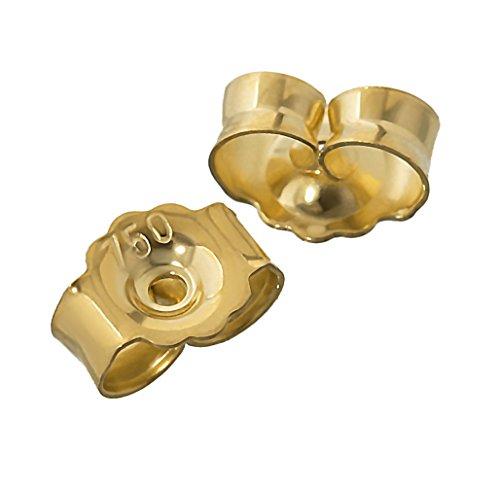 NKlaus 1 Paar 750 Gelbgold 18 Karat Gold 5,2mm Gegenstecker für Ohrstecker Ohrringe Ohrstopper Pousetten Ohrmutter Butterfly Schmetterling Verschluss Loch: 0,8mm 4824