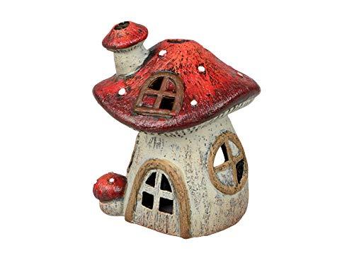 dekojohnson Windlicht-Pilzhaus Teelichthalter Kerzenhalter Deko-Pilz Fliegenpilz-Häuschen Herbstdekoration Weihnachtsdeko Feenhaus 13x16cm Gartendeko