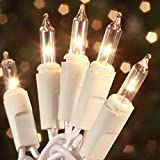Christmas Lights 100 Count Mini Clear Lights 32 ft White Wire Christmas Tree String Lights Set for Outdoor Indoor Christmas Decorations Wedding Decorations Valentines Day Decor,UL Certified