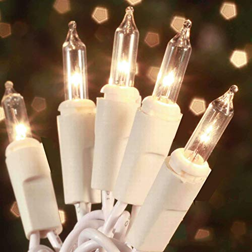 Christmas Lights 100 Count Mini Clear Lights 32 ft White Wire Christmas Tree String Lights Set for Outdoor Indoor Christmas Decorations Wedding Decorations,UL Certified
