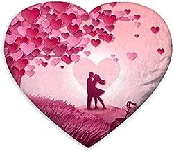 Generic MUKESH Handicrafts Heart Shape Velvet Cushion Pillow, 17 x 15 inches (Multicolour)