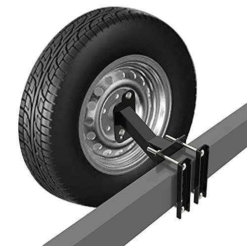 Qualward Spare Tire Mount Bracket for Trailer, Spare Tire Carrier Powder Coat Steel Black, Fits Most...