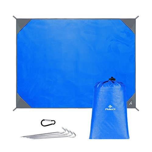 PHILORN Grande Couverture De Pique-Nique Plage Tapis avec 4 Piquets Métalliques Pliable Compact Léger Nylon Résistant au Sable Imperméable Séchage Rapide pour Extérieur Activités (200 x 150 cm Bleu)