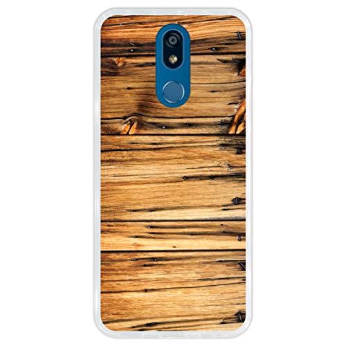 Telefoonhoesje voor [ LG K40 ] tekening [ Oude houten schuur, houten muur ] Transparant TPU flexibele siliconen schaal