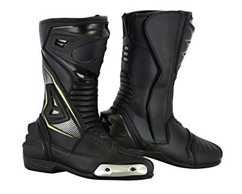 LuxHide Mens Motorcycle Protective Off-Road and ATV Riding Racing Leather Boots (numeric_9)