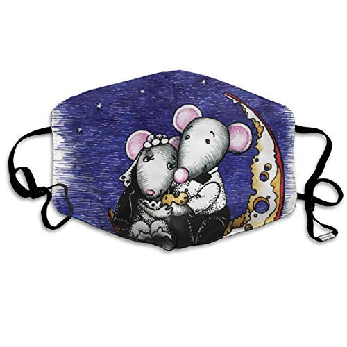 Mundschutz Atmungsaktive Gesichtsmundabdeckung Staubdichter,Mouse Couple Sitting On The Cheese Flavoured Moon Bride and Groom Love Valentines Art,Gesichtsdekorationen