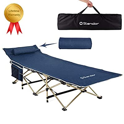 Slendor Folding Camping Cot for Adults Portable Outdoor Bed Heavy Duty Sleeping Cots for Camp with Pillow and Carry Bag, 1200D Double Layer Oxford, 500 LBS(Max Load)