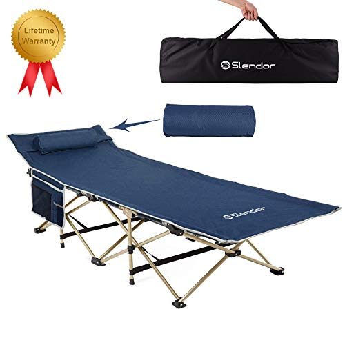 Camping Cot, Portable Folding Cots for Adults Kids with Pillow and Carry Bag, Large Pocket Camping Cots, Foldable Sleeping Bed Cots, Support 500 LBS, Heavy Duty Cot for Indoor & Outdoor Use