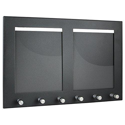 HMF 10830-02 Tabla para Colgar Llaves con 2 portafotos, Caja de Llaves, 6 Ganchos, 29,7 x 20 x 4,3 cm, Negro