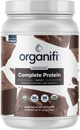 Organifi: Complete Protein Chocolate Flavor - Organic Vegan Plant Based Protein Powder - 30 Day Supply - Supports Craving Control and Weight Management - Digestive Enzymes - No Soy, Dairy, or Gluten