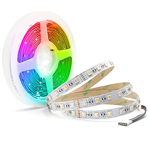24V led strip RGBWW 5M LED Streifen LED Band 5050 SMD RGB+Warmweiss 4 in1, 300 LEDs Lichterkette Lichtleiste Deko Lichter Treppenlicht, 60LEDs/M, 5M
