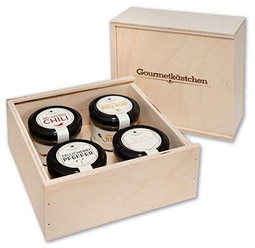 WELLNUSS Premium Gewürzbox 4er Set I In hochwertiger Birkenholzbox I Ausgefallene Sorten aus 4 Ländern I Veganes Geschenk für Männer & Frauen I Geschenkset mit edlen Gewürzmischungen I Kochgeschenk
