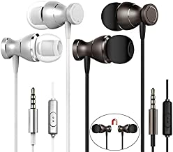 2 Packs Magnetic Earbud Headphones with Remote & Microphone, DaKuan in Ear Earphone Stereo Sound Noise Isolating Tangle Free for Smartphones, Laptops, Gaming, Fits All 3.5mm Interface Device