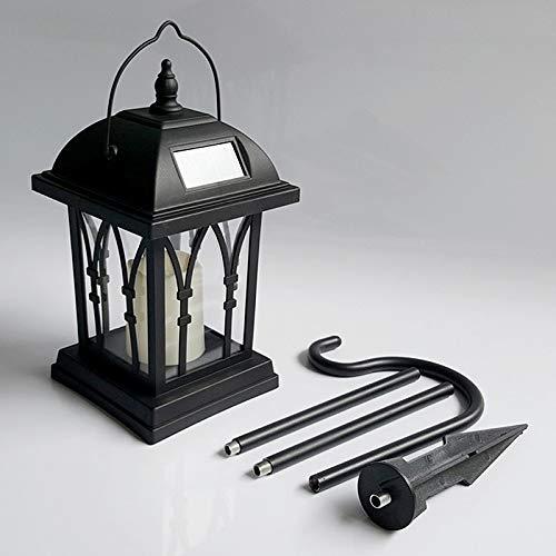 LHQ LEH-55142G Lámpara de jardín con forma de vela de ahorro de energía con luz solar for jardín LED con poste y panel solar de silicio amorfo de 0.2 vatios