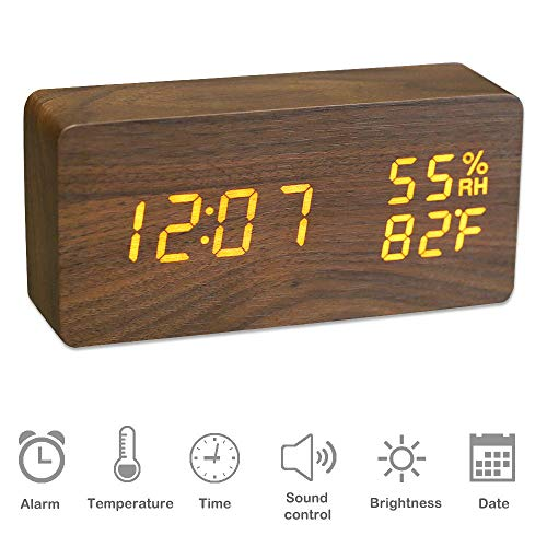 JCHORNOR Wood Alarm Clock,Wooden Led 3 Level Warm Adjustable Brightness Clock with USB Cable,Time Date Temperature Voice Control Humidity Desk Clock for Home/Kid Room/Office-Brown