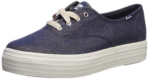Keds Triple CVO Lurex - Zapatillas de Mezclilla para Mujer, Azul (Marino), 35.5 EU
