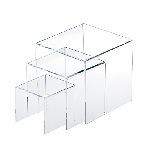 Premium Set of 3 Acrylic Risers Display Stands for Products Collectibles Retail Jewelry