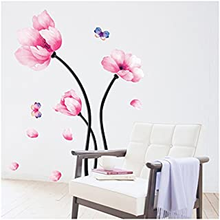 Wall Decal Pink Flower - Wall Mural Peel and Stick - Removable Vinyl Wall Sticker Home Decor by Dooboe