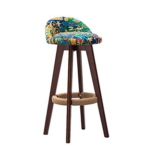 Tabouret de bar rond en bois marron rotatif à 360 ° pour cuisine, maison, bar, comptoir, chaise avec coussin en tissu vert, style épuré