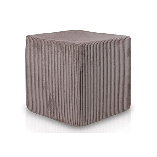 Ecopuf Block Pouf Poggiapiedi in Tessuto Velluto a Coste - Completamente Sfoderabile - Puff Sgabello Quadrato Imbottito per Interni Dim 40x40 Cm
