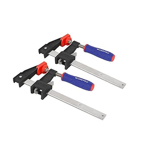 WORKPRO Schraubzwingen Set aus hochwertigem Stahl und Nylon für präzises Fixieren Spannweite 150mm Ausladung 80mm 2 Stück