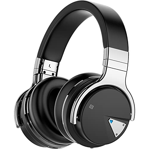 Qisebin Active Noise Cancelling Headphones, E7 Bluetooth Headphones with Microphone Deep Bass Wireless Headphones Over Ear, Comfortable Protein Earpads, 30 Hours Playtime for Travel/Work, Black
