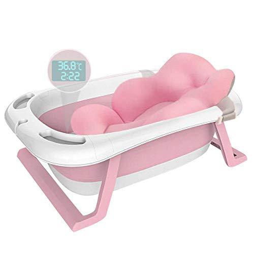 XUDREZ ベビーバス 折りたたみバケツ 赤ちゃん浴槽 安全素材 湯温計付き キッズ 新生儿 風呂桶 バスタブ ソフトタブ バスプール たらい 滑り止め設計 収納容易 (ピンク5)