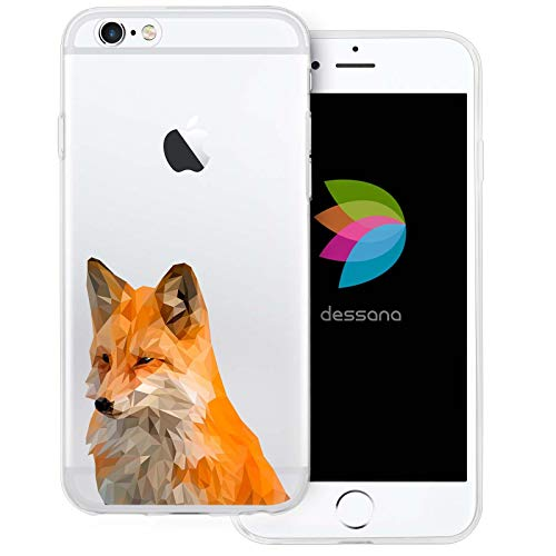 dessana Comic Füchse transparente Schutzhülle Handy Case Cover Tasche für Apple iPhone 6/6S Polygonal Fuchs