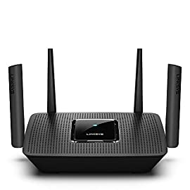 Linksys AC2200 Smart Mesh Wi-Fi Router for Home Mesh Networking, MU-MIMO Tri-Band Wireless Gigabit Mesh Router, Fast… 3 Provides up to 2,000 square feet of Wi-Fi coverage for 20+ wireless devices Works with existing modem, simple setup through Linksys App. Mobile device with Android 4.4 or iOS 9 and higher, Bluetooth preferred Enjoy 4K HD streaming, gaming and more in high quality without buffering