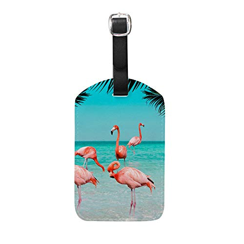 Ruchen Luggage Tags Set Suitcase Tag Flamingos Clear Blue Sea Beach Sky Summer PU Leather Personalized Luggage id Tags Labels Travel Accessories 4.9Inch Single