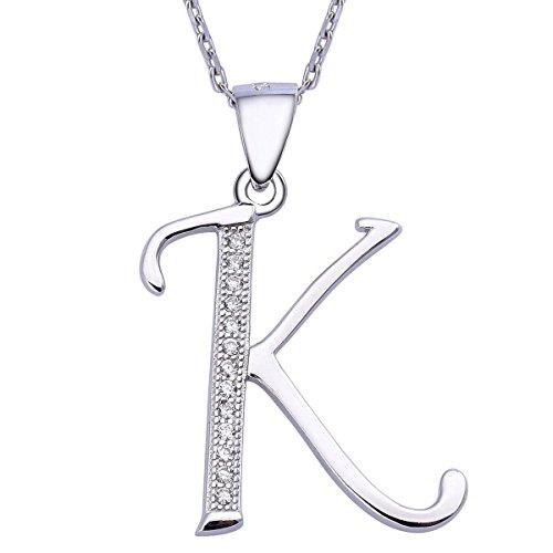 VIKI LYNN Sterling Silber 925 Kette Halskette mit Silber und Zircon Buchstabe Alphabet K Anhaenger