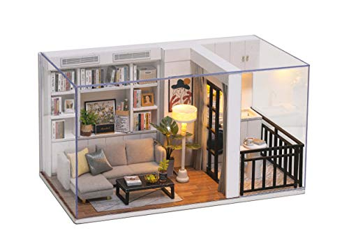 Cuteroom Kit de casa de Madera para Muebles en Miniatura de habitación de muñecas DIY-Kit de casa de muñecas de Madera con Cubierta Antipolvo y Accesorios-Genki Life-for Idea Adecuado y Famili