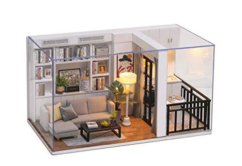 Cuteroom DIY Puppenzimmer Miniaturmöbel Holzhaus Kit - Holzpuppen Haus Kit mit Staubschutz und Zubehör - Genki Life-for Idea Geeignet & Familie