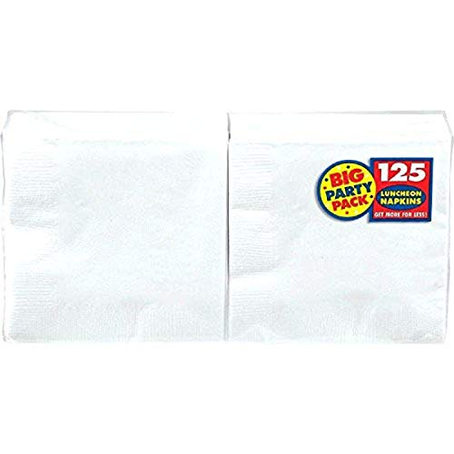 """Amscan Frosty White Big Party Pack Luncheon Napkins, 6.5"""" x 6.5"""", 125 Ct."""