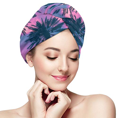 Pink Palm Trees Sea Dusk Microfiber Dry Hair Cap for Bath Spa Soft Super Absorbent Quick Drying Towel Wrap Wet Hair Turbans 11 inch X 28 inch