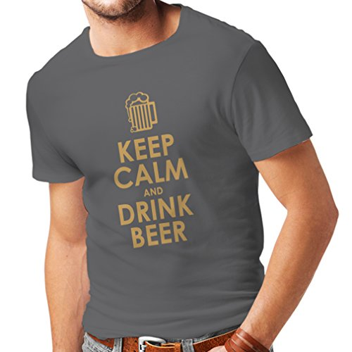 lepni.me Mannen T-shirt Blijf Kalm en Drink Bier Alcohol Citeert Grappige Geschenken