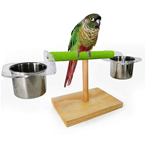 baratos y buenos POPET POP percha de adiestramiento para loros Percha portátil para pájaros con comedero plato taza mesa … calidad