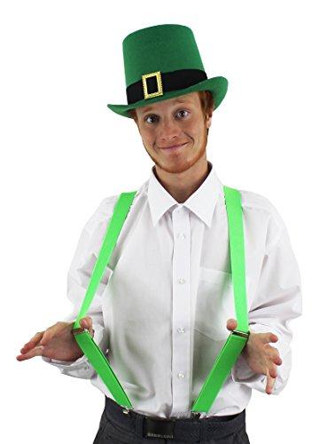 Déguisement accessoires Irlandais pour la St Patrick avec ce chapeau haut de forme vert à bande noire ornée d'une boucle + une paire de bretelles pour adulte. Ideal pour les enterrements de vie de garçon. ( X6 )