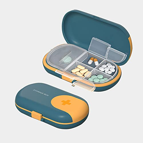1 Pastillero con Cortador de Pastillas, Caja de Pastillas con 4 Compartimentos – Tomas, Organizador Medicación de Plástico ABS Portátil de tamaño Bolsillo - Azul