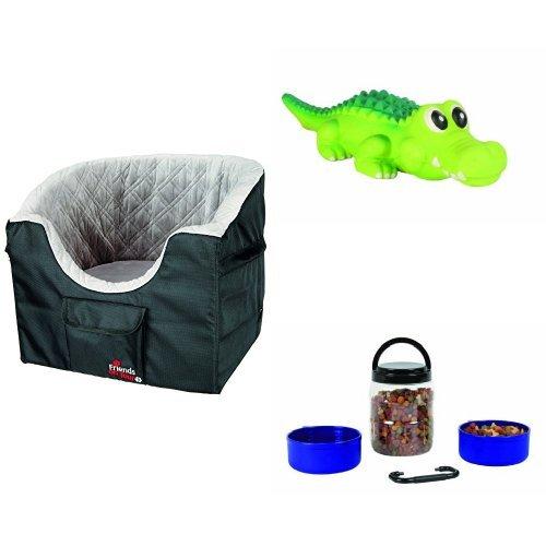 Trixie Autositz für kleine Hunde  + Trixie 3529 Krokodil, Latex 35 cm + Trixie 2491 Reise-Set, Kunststoff 2 Liter/0,75 Liter