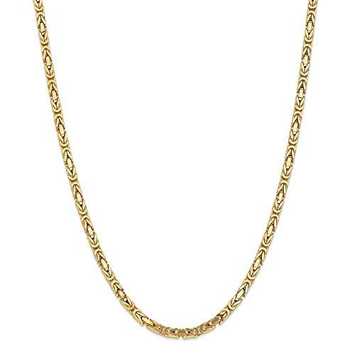 Königskette aus massivem 14-karätigem Gelbgold, 4 mm, für Herren und Damen