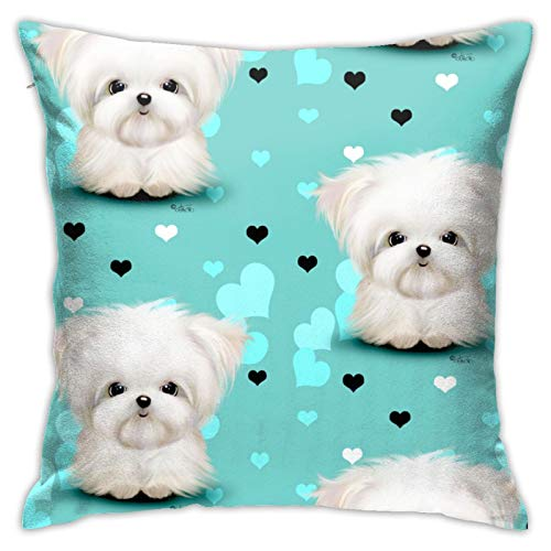 Maltese Blue and HeartsCushion Cover Throw Pillow Case Home Decorative for Men/Women Living Room Bedroom Sofa Chair Square Couch Pillow Cover 18inch*18inch