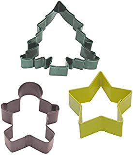R&M International 0391 Christmas 3-Piece Cookie Cutter Set in Organza Gift Bag, Star, Gingerbread Boy, Tree