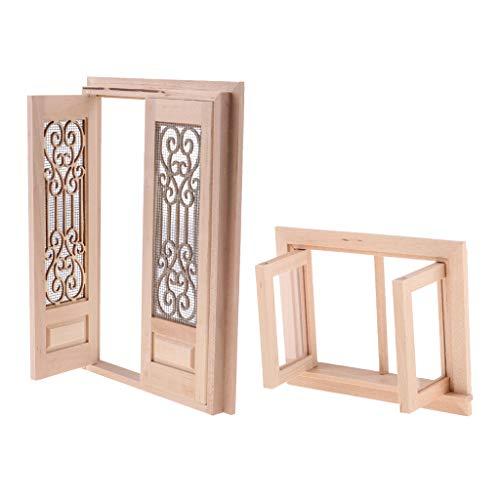 1/12 Puppenhaus Puppenstube Miniatur Holz Tür und Fensterrahmen Puppenmöbel